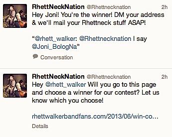 Winner RhettNeckNation Contest Rhett Walker Band